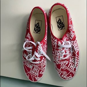 Red and white vans.
